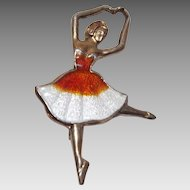 Sweet Sterling Silver and Guilloche Enamel Ballerina Pin