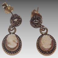 Pretty 12 kt Gold Filled Shell Cameo Dangle Pierced Earrings