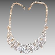 Stunning  Unmarked Weiss Rhinestone Swags Necklace Rhodium Plated