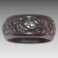 Lovely 14 Kt White Gold Swirls Open Work Ring Size 6