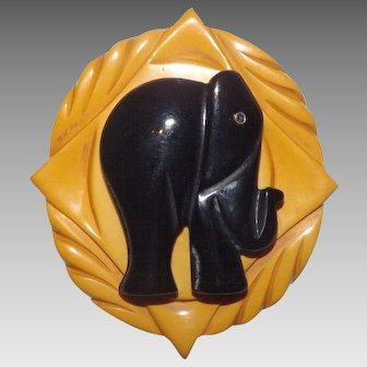 Wonderful Black & Deep Dream Bakelite Elephant Layered Brooch