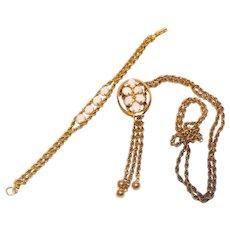 Gorgeous L Font Gold Filled Opals Necklace and Bracelet Set