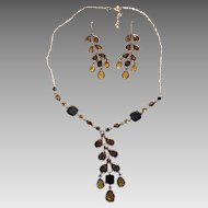 Lovely Silver Tone And Yellow, Blue, and Gray Glass Necklace & Earrings Set