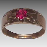 Gorgeous Victorian Era 10 Kt Yellow Gold and Vibrant Red Ruby Ring