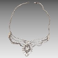 Gorgeous Art Deco Rhinestone Necklace With Baguettes , Rounds and Navettes