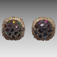Lovely Judy Lee Aurora Borealis Clip On Earrings In Gold Tone