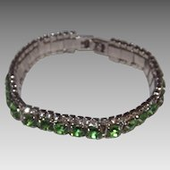 Sparkling Clear And Green Rhinestones Bracelet