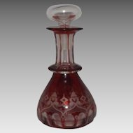 Cranberry and Clear Glass Perfume Bottle Etched Design