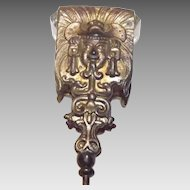 Rutilated Glass With Oriental Brass Head Hat Pin