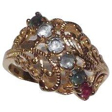 14 Kt Yellow Gold Filigree & Multi Gemstone Ring Mothers Ring
