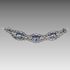 Lovely Light Blue Frosted & Transparent Blue Rhinestones Bracelet