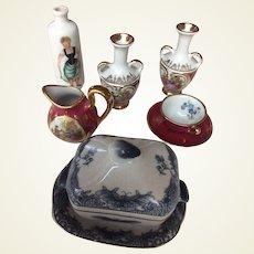 Collection of porcelain miniatures for doll display