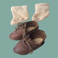 Antique bebe shoes with socks