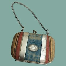 Charming velvet and metal purse for larger fashion doll