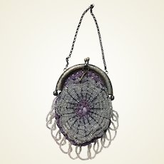 Fantastic sterling silver beaded purse for larger French fashion