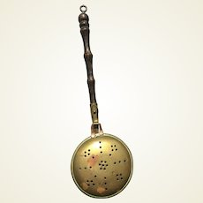 Miniature brass and copper bed warming pan