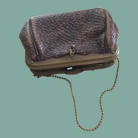 Antique leather purse for larger fashion doll