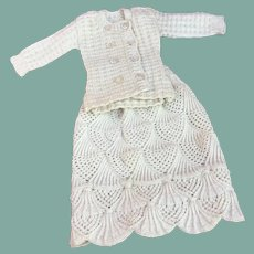 Charming vintage knitted outfit for small bebe