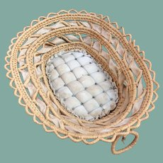 Antique basket with quilted inside