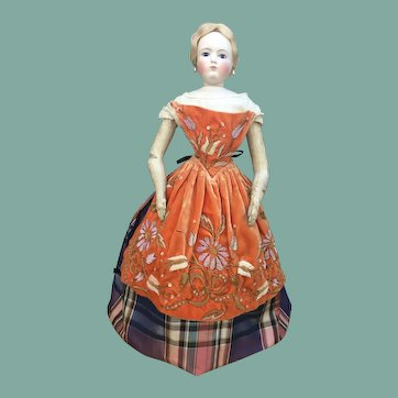 "Rare velvet apron fir 22"" French fashion doll"