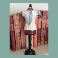 "Lovely antique knitted corset cover for 13"" French fashion doll"