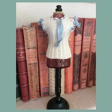 """Lovely antique knitted corset cover for 13"""" French fashion doll"""