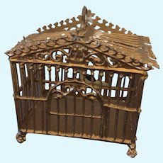 Miniature soft metal bird cage for dollhouse