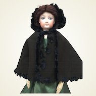 Rare back woolen hooded cape for French Fashion