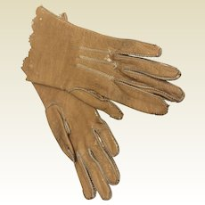 Camel colour leather gloves for larger Fashion doll or bebe