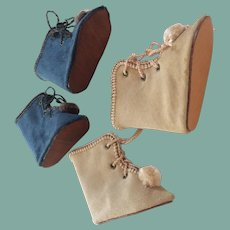 Two pairs of velvet boots for bebe