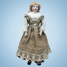 Unusual and charming linnen embroidered dress for Huret or other poupee enfantine