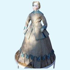 """Beautiful two piece promenade costume for 22"""" French fashion doll"""