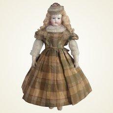 Superb silk dress for poupee enfantine, Huret, Rohmer, Barrois