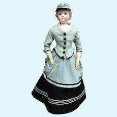 """Magnificent three piece costume with hat for 20/21"""" French Fashion Doll"""