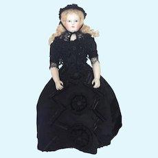 """Magnificent black silk ball gown for 18"""" poupée enfantine, Huret, Rohmer"""
