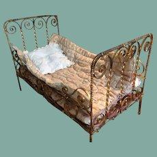 Rare Huret type metal bed 1872 by Letournier