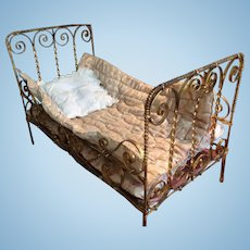 Rare Huret type metal bed 1872 by Letournier
