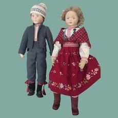 Pair of cloth artist cloth dolls in superb scandinavian costume