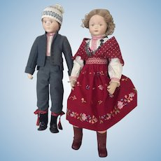 Pair of cloth artist cloth dolls in superb scandinavian costume