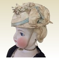 "Lovely cream and aqua toque hat for 22"" French Fashion"