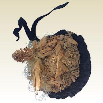 "Rare and original straw bonnet for 17-18"" fashion doll"