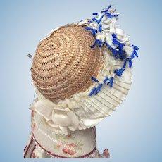 Lovely antique straw bonnet for bebe