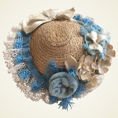 """Charming straw hat with cream and blue trim for 17-18"""" fashion doll"""