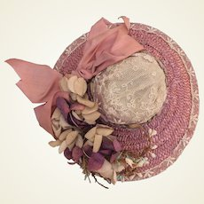 Charming vintage straw hat for French fashion doll