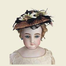 """Elegant antique straw hat for 17/18"""" Huret, fashion doll"""