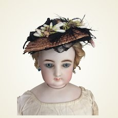 "Elegant straw hat for 17/18"" Huret, fashion doll"