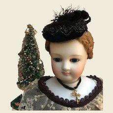 """Elegant black velvet toque for 17/18"""" fashion doll"""