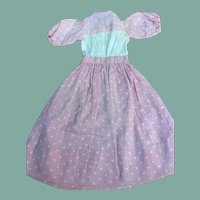 Charming early pink cotton dress for French fashion or china doll