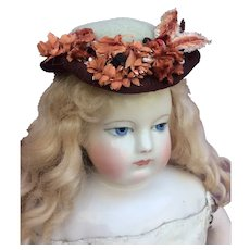 Lovely felt and silk hat for Huret or other French fashion doll