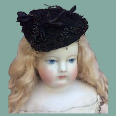 """Fancy black horsehair hat for 17-18"""" French fashion doll"""